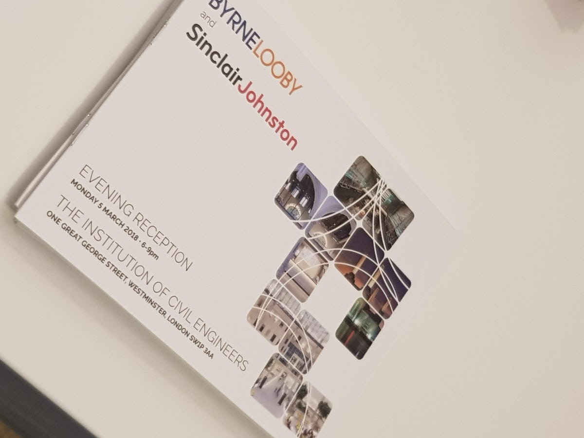 ByrneLooby & Sinclair Johnston Host London Evening Reception - ByrneLooby International Engineering Design Consultancy